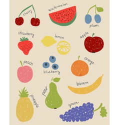 Doodle fruits in retro colors vector image vector image