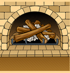 fireplace pop art vector image
