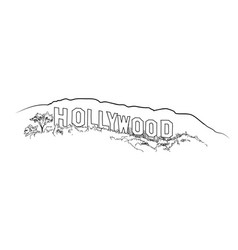 Hollywood sign engraving hollywood hill landscape vector