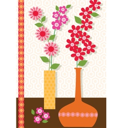 mod flower vases vector image vector image
