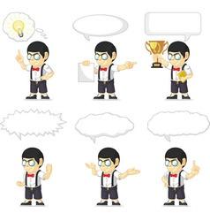 Nerd Boy Customizable Mascot 21 vector image