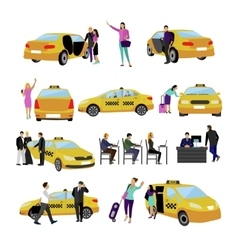 set of Taxi service icons isolated on white vector image vector image