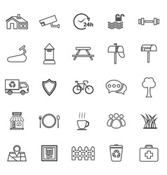 village line icons on white background vector image vector image