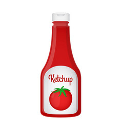 3d realistic ketchup bottle tomato sauce vector image