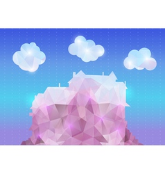 Abstract polygonal house with clouds vector image