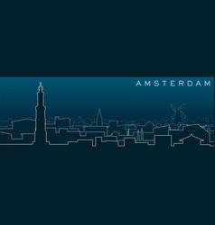 Amsterdam multiple lines skyline and landmarks vector