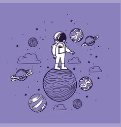 Astronaut draw with planets design vector