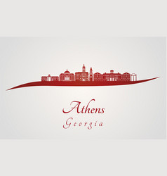 Athens ga skyline in red vector