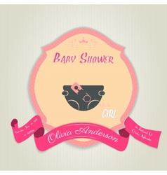 Baby shower invitation with diaper and pin vector