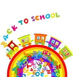 Back to school concept with cartoon train on vector image
