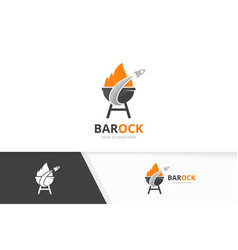 bbq and rocket logo combination grill and vector image