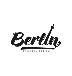 berlin city name original design black ink hand vector image