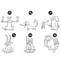Black and white zodiac signs set with dogs vector