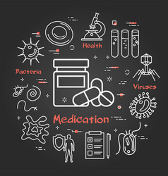 black concept medication and pills vector image