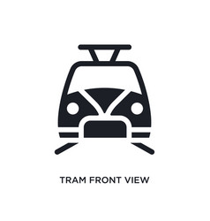 Black tram front view isolated icon simple vector