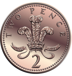 British money gold coin 2 pence vector