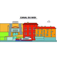 Canal du midi line travel landmark skylin vector