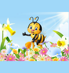 Cartoon bee holding honey dipper with flower vector