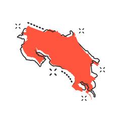 cartoon costa rica map icon in comic style costa vector image