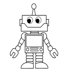 Cartoon flat style robot in isolate on a white vector