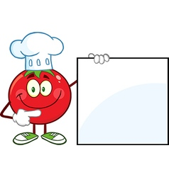 Chef Tomato Cartoon with a Sign vector image