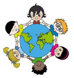 children around the world united vector image