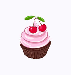 Chocolate cupcake with cherry whipped cream vector
