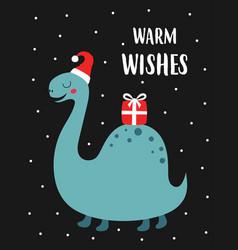 christmas card with cute dinosaur vector image