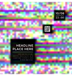 colored glitch design template layout vector image
