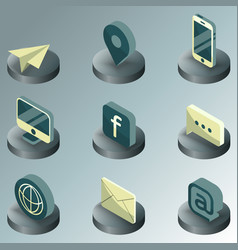 Contact us color isometric icons vector