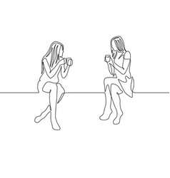 Continuous one line drawing two womans chat over a vector