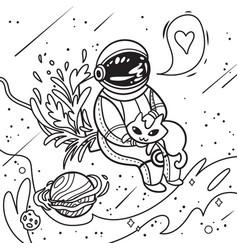 Contour print with cartoon astronaut stroking vector