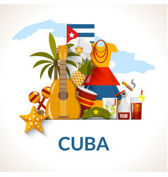 Cuban National Symbols Composition Poster Print vector