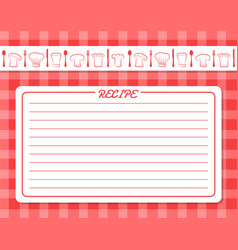 Decorative card with lines for recipe placement vector