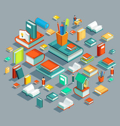 education isometric flat design concept le vector image