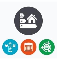 Energy efficiency icon House building symbol vector image
