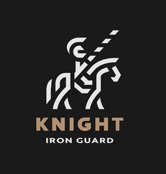 equestrian knight linear logo symbol on a dark vector image