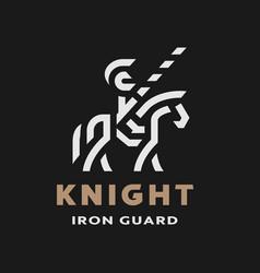 Equestrian knight linear logo symbol on a dark vector