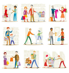 family in the store vector image