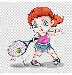 Female tennis player on transparent background vector