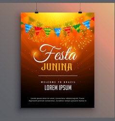 festa junina flyer invitation background design vector image