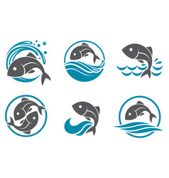 Fish icon set vector