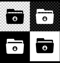 folder and lock icon isolated on black white and vector image