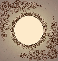 Frame with henna floral elements vector