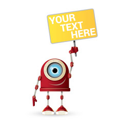 Funny cartoon red friendly robot character vector