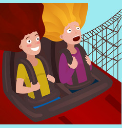 Girls on a roller coaster cartoon vector