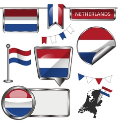 Glossy icons with netherlands flag vector