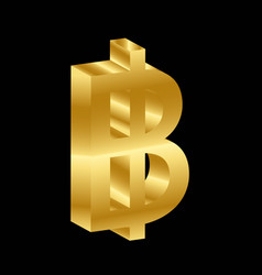 Gold 3d luxury baht currency symbol vector