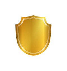 Gold shield shape icon 3d golden emblem sign vector
