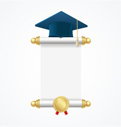Graduated cap student and roll diploma vector